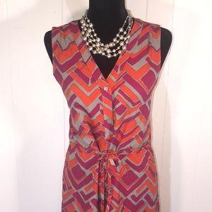 Banana Republic  Red/Kaki/Orange Print Dress ❤️🧡